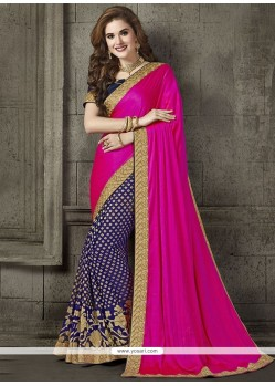 Ideal Blue And Hot Pink Embroidered Work Art Silk Designer Traditional Saree