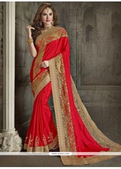 Cute Net Red Designer Traditional Saree