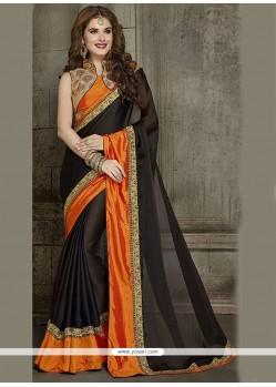 Fetching Lace Work Black Classic Designer Saree