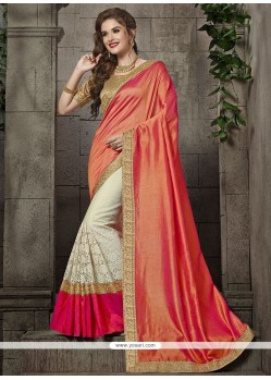 Tantalizing Art Silk Off White And Peach Embroidered Work Designer Traditional Saree