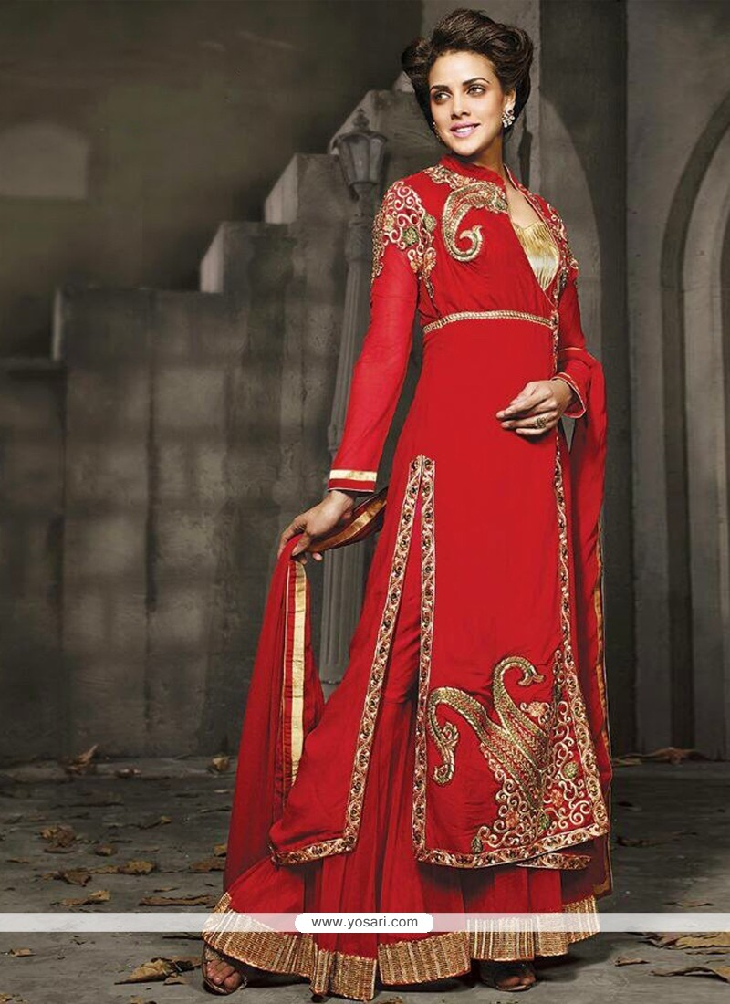 Beautiful Red Georgette Lehenga Choli