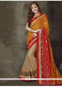 Awesome Net Patch Border Work Classic Designer Saree