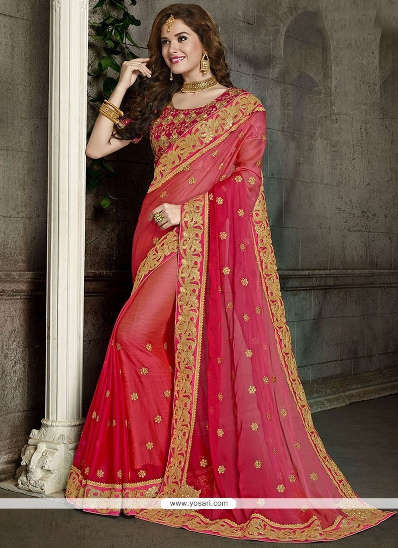 Immaculate Faux Chiffon Patch Border Work Classic Designer Saree