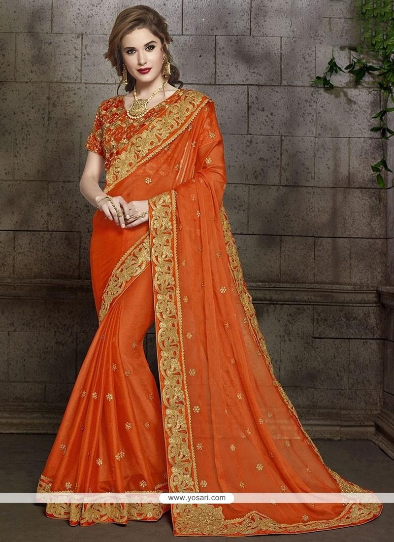 Lavish Faux Chiffon Patch Border Work Classic Designer Saree