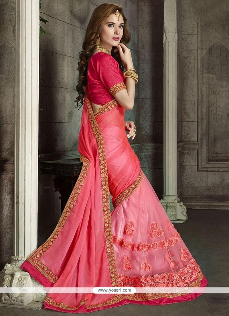 Winsome Faux Chiffon Hot Pink Classic Designer Saree