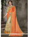 Embroidered Art Silk Traditional Saree In Beige And Orange