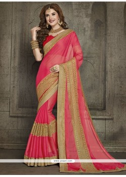 Dainty Pink Net Classic Designer Saree