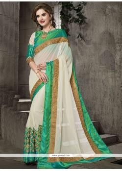 Exceptional Faux Georgette Off White Classic Designer Saree