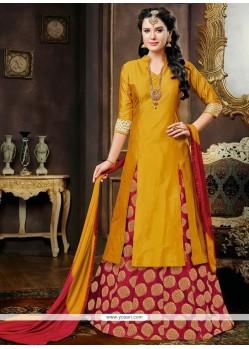 Blissful Mustard And Red Embroidered Work Lehenga Choli