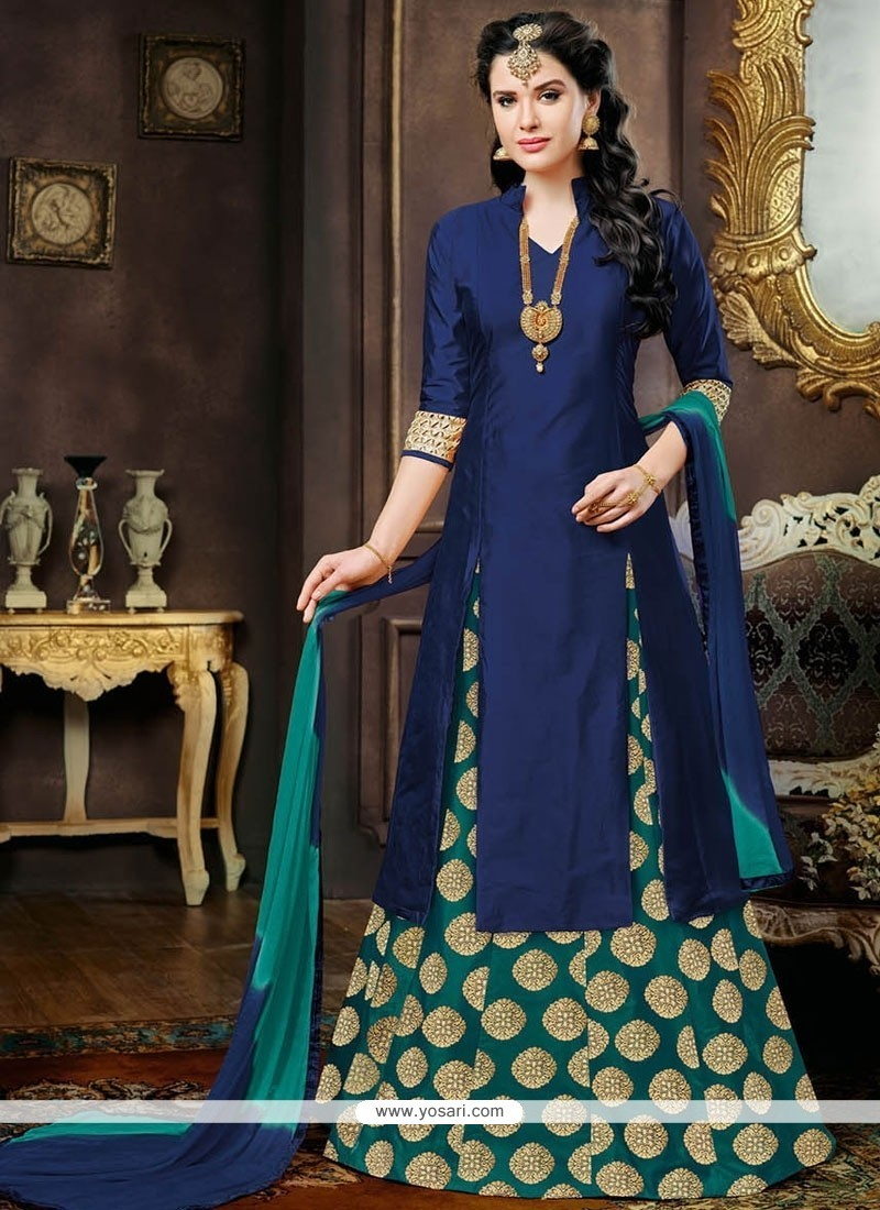 Exquisite Tafeta Silk Green And Navy Blue Embroidered Work Lehenga Choli