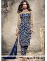 Priyanka Chopra Embroidered Work Blue Pant Style Suit