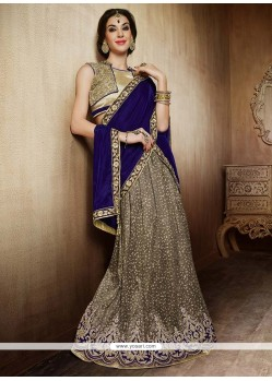 Grey And Blue Net Lehenga Choli