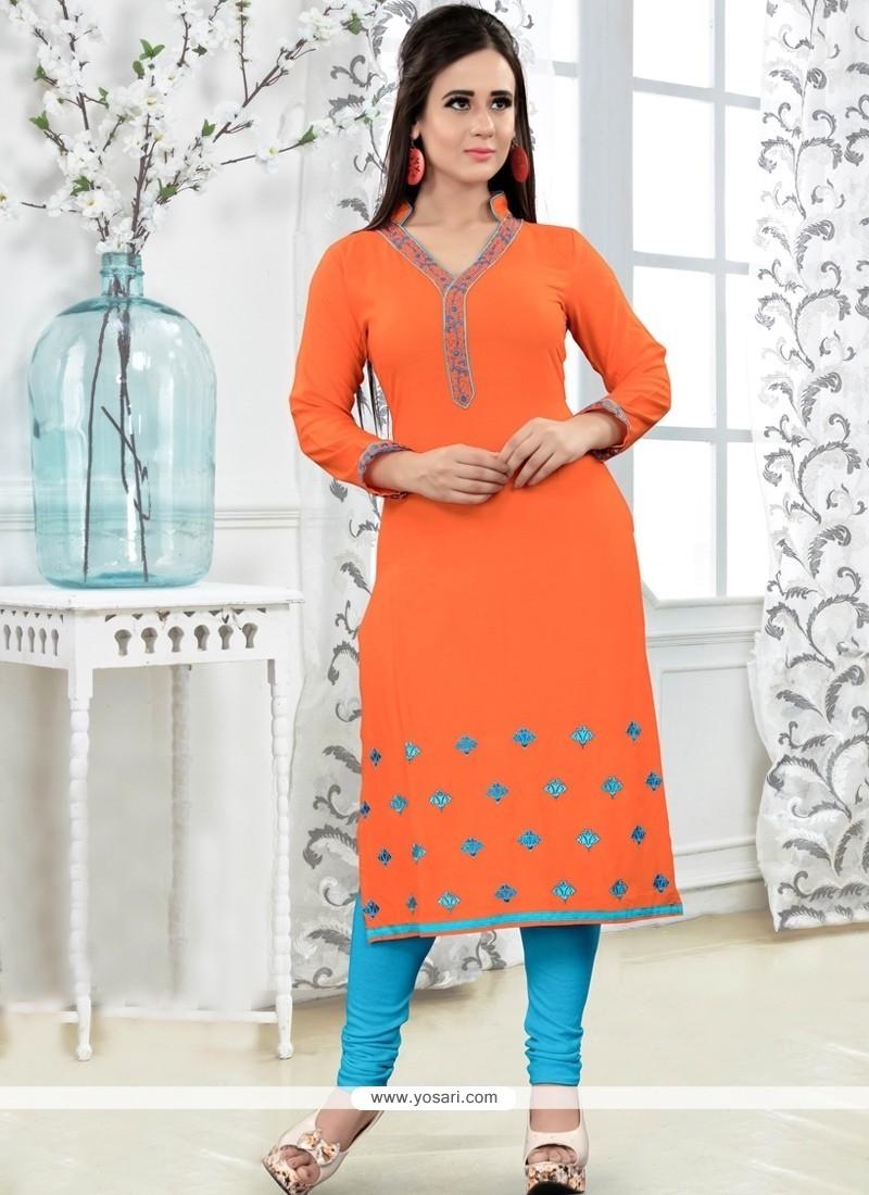 Sensible Rayon Orange Party Wear Kurti