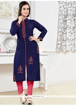 Epitome Navy Blue Embroidered Work Rayon Party Wear Kurti