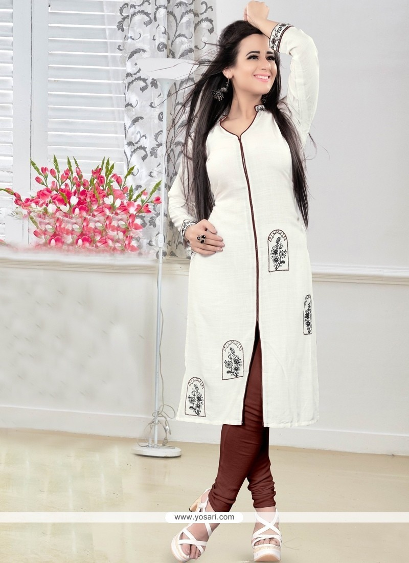 Suave Off White Party Wear Kurti