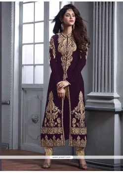 Hypnotizing Embroidered Work Purple Velvet Designer Floor Length Suit