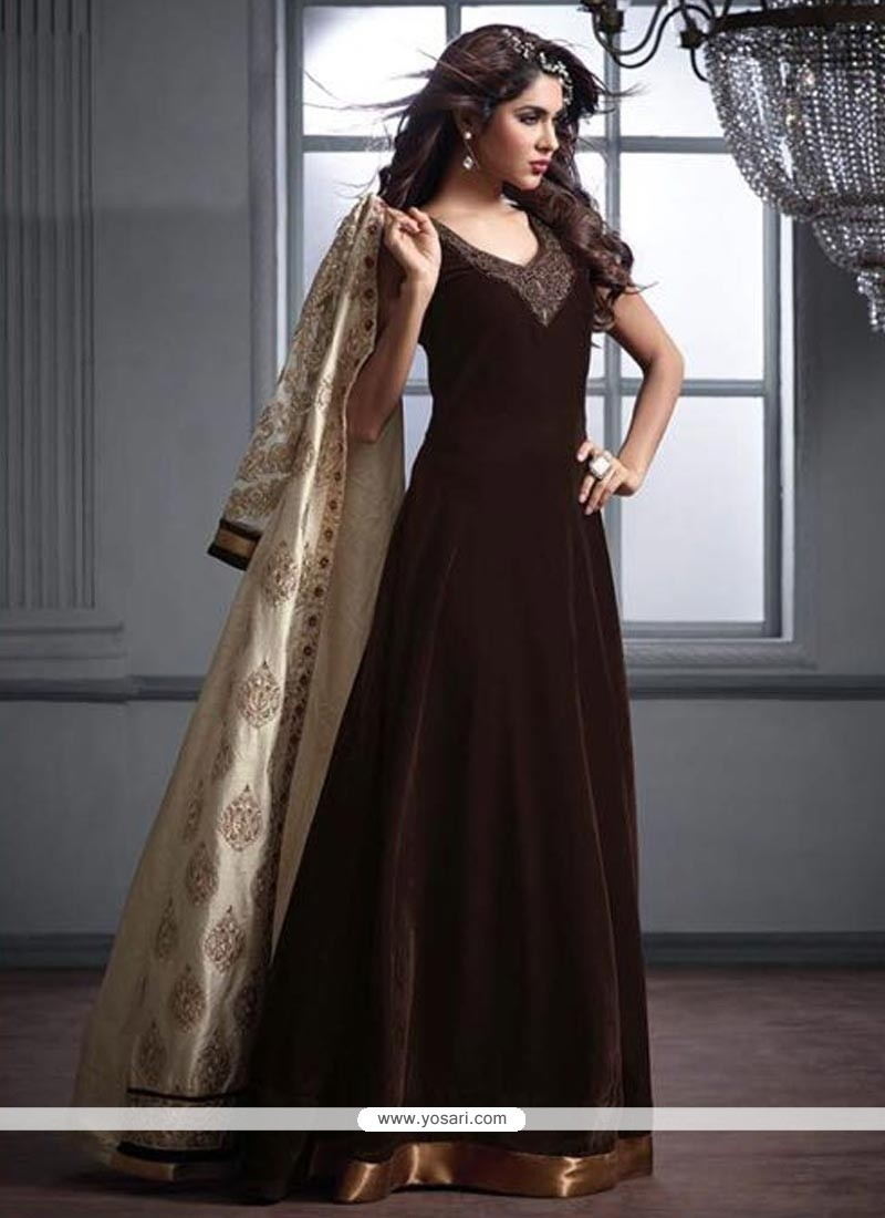 Vivacious Velvet Designer Floor Length Suit