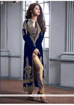 Sophisticated Velvet Blue Embroidered Work Pant Style Suit