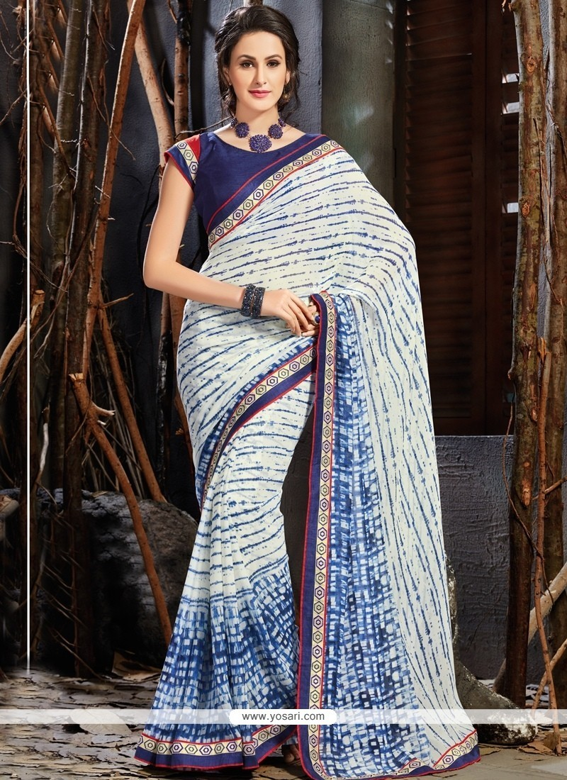 Sparkling Blue Printed Saree