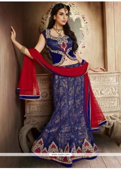 Adorable Blue Embroidery Work Lehenga Choli