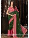 Alluring Green And Pink Printed Saree