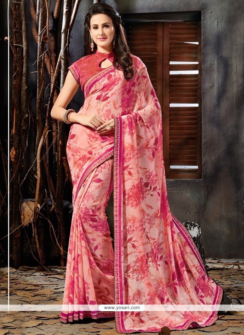 Excellent Faux Georgette Pink Printed Saree