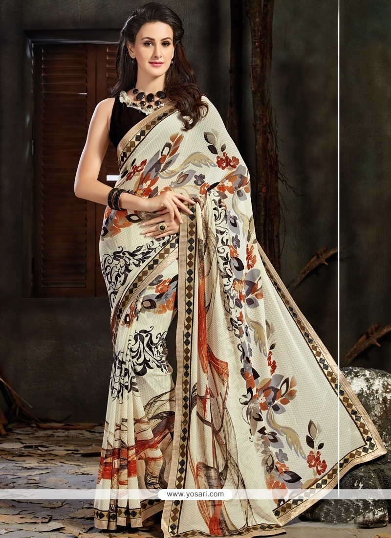 Winsome Print Work Faux Georgette Printed Saree