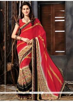 Prodigious Faux Georgette Multi Colour Printed Saree