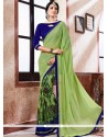 Absorbing Faux Georgette Lace Work Printed Saree