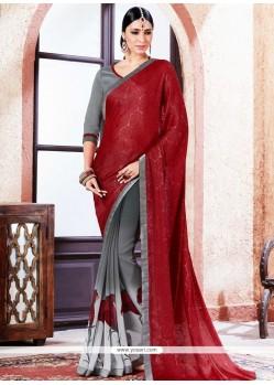 Miraculous Lace Work Printed Saree