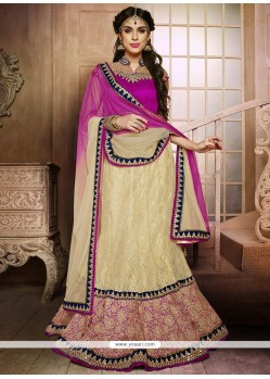 Glorious Beige Zari Work Net Lehenga Choli