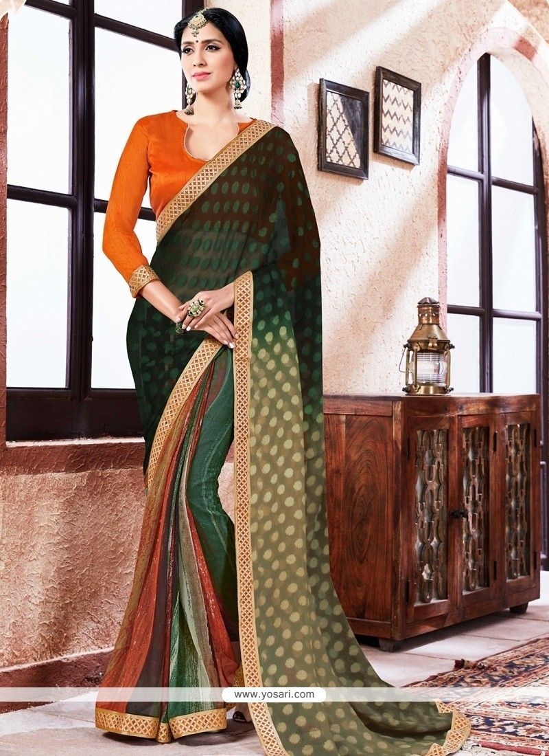 Thrilling Multi Colour Lace Work Faux Georgette Printed Saree