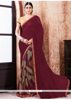 Awesome Lace Work Faux Georgette Printed Saree