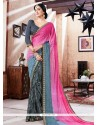 Praiseworthy Faux Georgette Lace Work Printed Saree