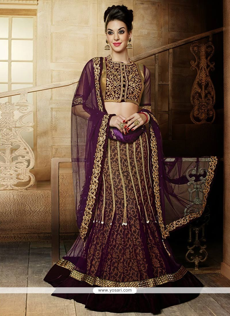 Beautiful Purple Net Lehenga Choli