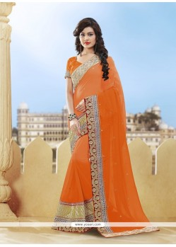 Customary Stone Work Orange Viscose Classic Designer Saree