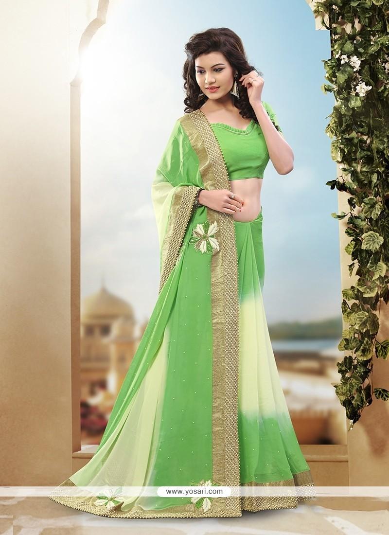 Renowned Viscose Cream And Green Resham Work Classic Designer Saree