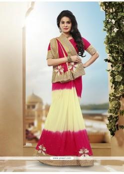 Sensational Cream And Magenta Patch Border Work Viscose Classic Designer Saree