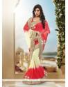 Transcendent Cream And Red Patch Border Work Viscose Classic Designer Saree