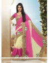 Chic Cream And Pink Patch Border Work Faux Georgette Classic Designer Saree