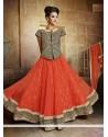 Splendid Orange Net Wedding Lehenga Choli