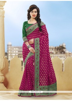 Appealing Patch Border Work Magenta Viscose Classic Designer Saree