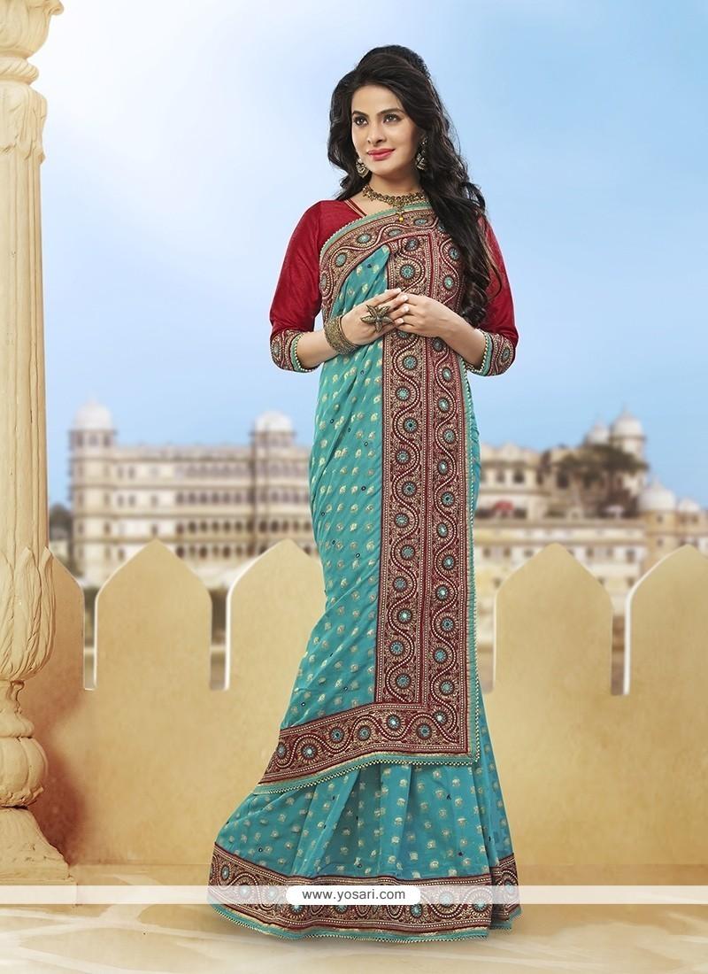Hypnotic Turquoise Patch Border Work Viscose Classic Designer Saree