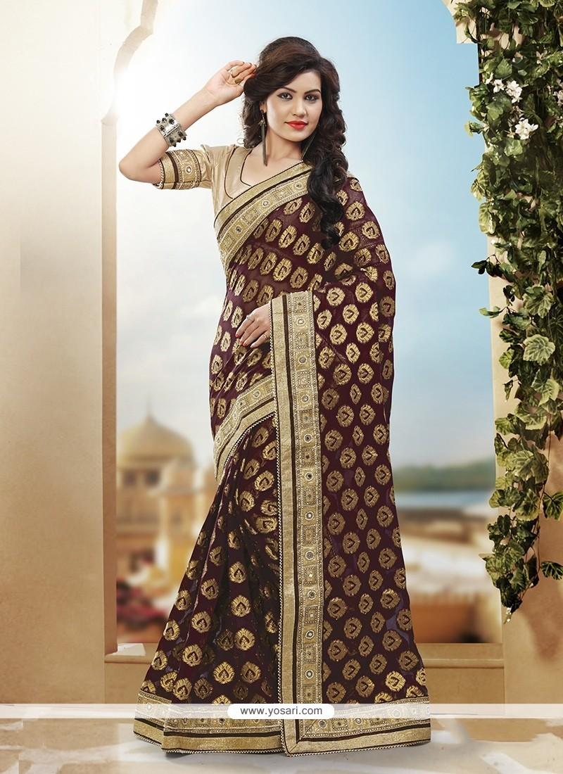 Latest Art Silk Brown Designer Traditional Saree