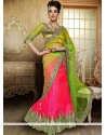 Fab Pink And Green Net Lehenga Choli