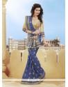 Blue Sequins Work Viscose Classic Designer Saree