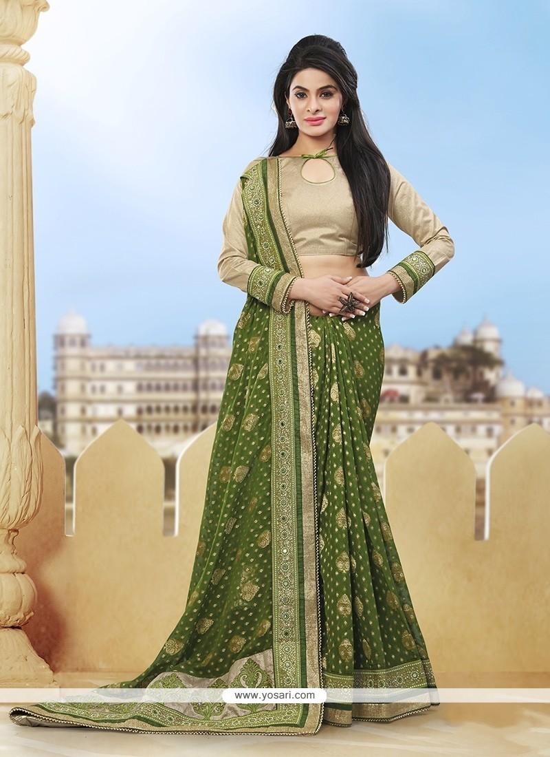 Subtle Viscose Green Classic Designer Saree