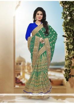 Glossy Green Designer Half N Half Saree