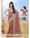 Elegant Net Rose Pink Classic Designer Saree
