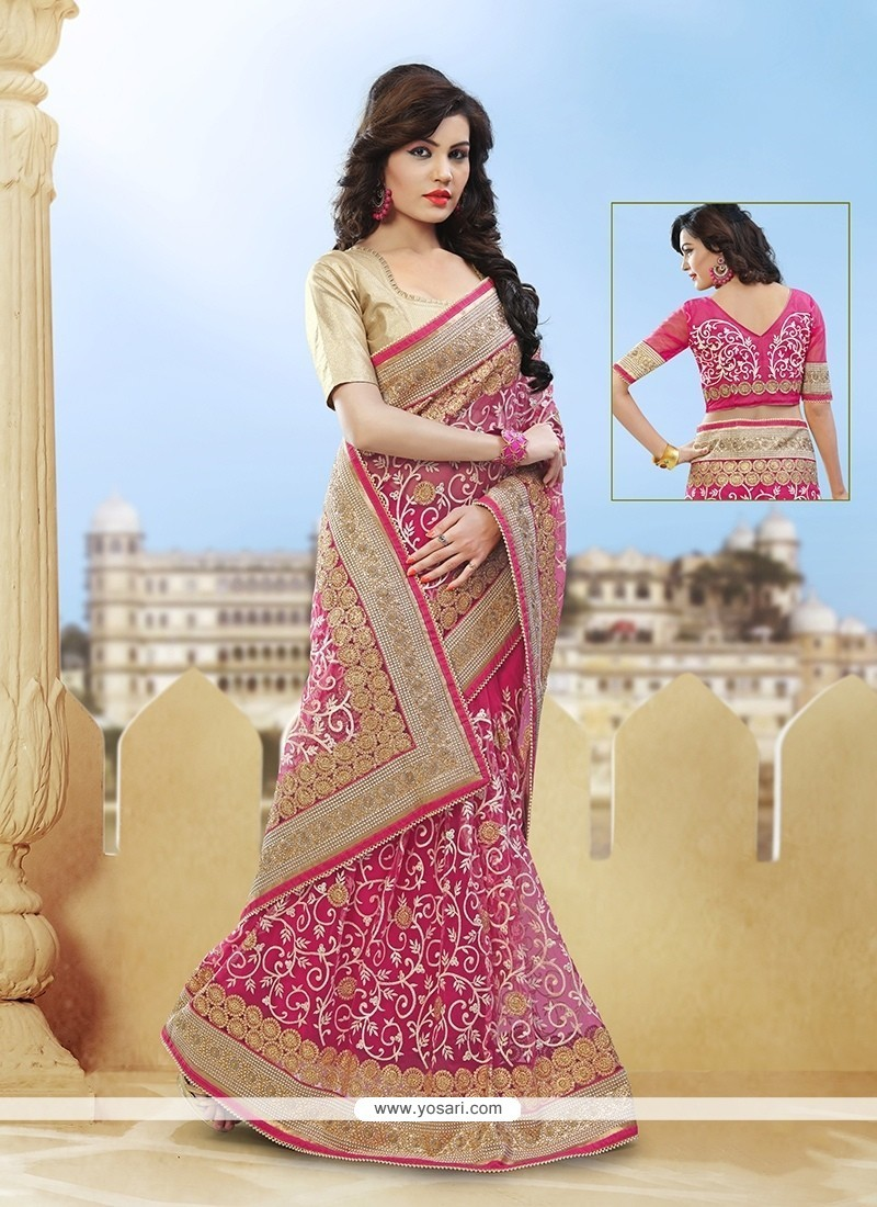 Hot Pink Resham Work Net Classic Designer Saree